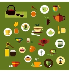 Green black and herbal tea flat icons vector