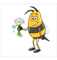 Bee holding flowers vector