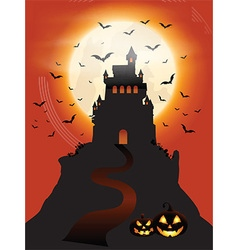 Halloween castle and pumpkins vector image