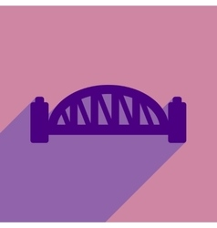 Flat icon with long shadow sydney harbour bridge vector