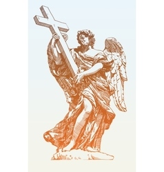 Drawing marble statue of angel from the santangelo vector