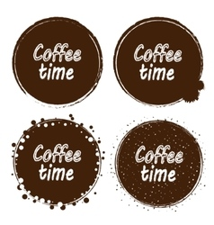 Grunge stamp with coffee time text inside set of vector