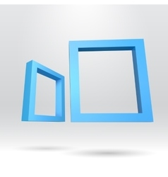 Two blue rectangular 3d frames vector