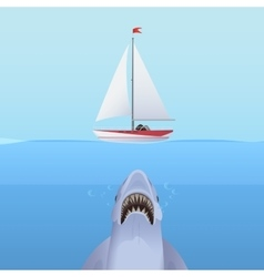 Hungry shark attack yacht ship from the ocean vector