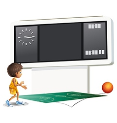 A boy playing basketball with a scoreboard vector image