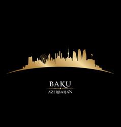 baku azerbaijan city skyline silhouette black vector image