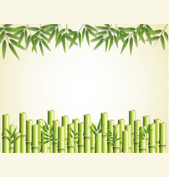 Bamboo leaves and sticks frame border vector
