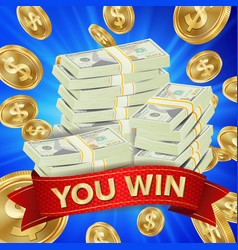 Big winner background gold coins jackpot vector