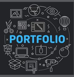 Black line flat circle portfolio vector
