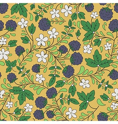 Blackberry and green leaves vector