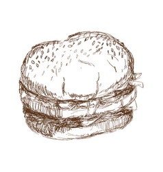 Burger beefsteak tomato letucce cheese engraving vector