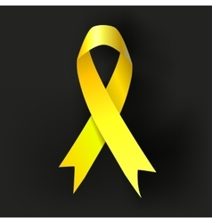 Childhood cancer awareness yellow ribbon on dark vector