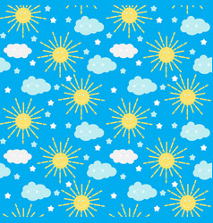 Children s seamless pattern background with sun vector