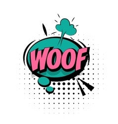 Comic sound effects pop art word lettering woof vector