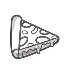 Contour delicious pizza fast food icon vector