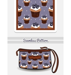 Cosmetic bag blueberry cupcakes vector