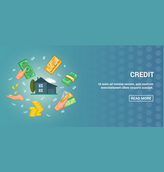 Credit banner horizontal cartoon style vector