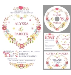 Cute wedding template setfloral heart wreath vector