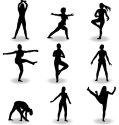 Dance women silhouette vector
