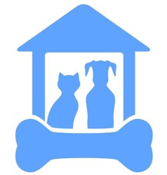 Dog and cat on home with bone silhouette vector