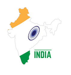 Flag and map of india vector