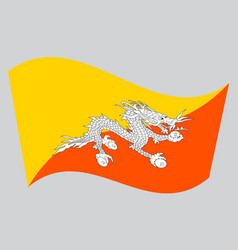 flag of bhutan waving on gray background vector image