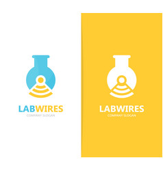 Flask and wifi logo combination vector