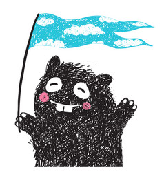 funny monster with flag greeting vector image vector image