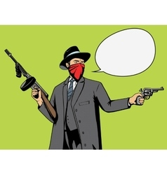 Gangster with gun robbery pop art vector image