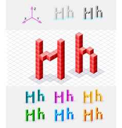 Isometric font from the cubes Letter H vector image vector image