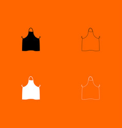 Kitchen apron black and white set icon vector