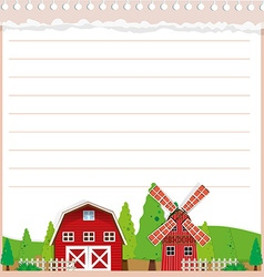 Line paper design with barn and windmill vector