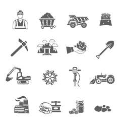 Mining icons set vector