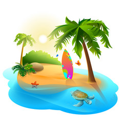 Palm trees tropical island and surfboard vector