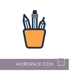 Pencil stand outline icon workspace sign vector
