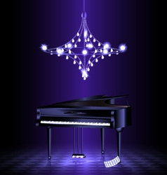 piano in the dark room vector image vector image