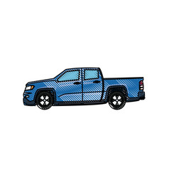 pickup truck vehicle transport side view vector image