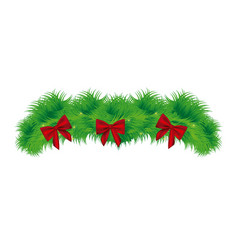 realistic pine arch with red ribbon christmas vector image
