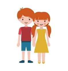 Redhead couple children with taken hands vector