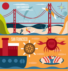 San francisco landmarks seafood and kite surfing vector