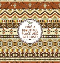 Seamless aztec pattern with geometric elements vector