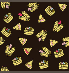 Seamless pattern with doodle sweet pancakes vector