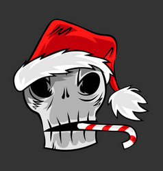 skull in santa hat vector image