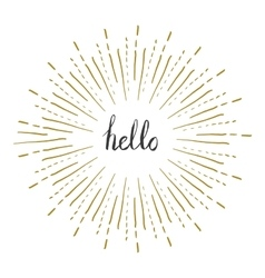 Sunburst frame with hello text Retro frame vector image vector image
