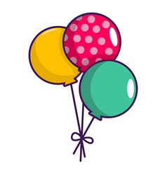 Three colorful balloons icon cartoon style vector