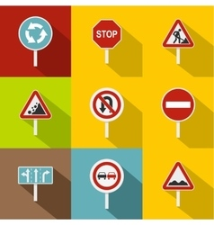 Traffic sign icons set flat style vector