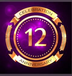 twelve years anniversary celebration with golden vector image
