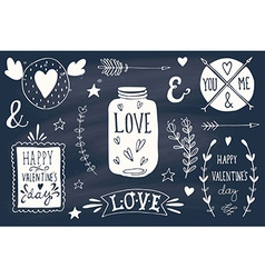 Valentines day design elements on blackboard vector image