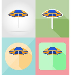 Objects for recreation a beach flat icons 06 vector