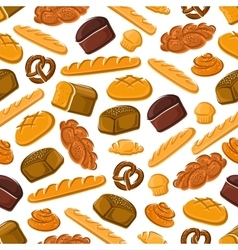 Seamless pattern of fresh bread and pastries vector